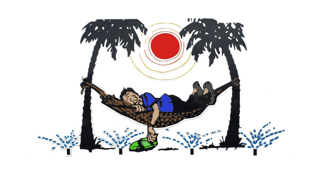 Drawing of a man sleeping on a hammock with the sprinklers open under him