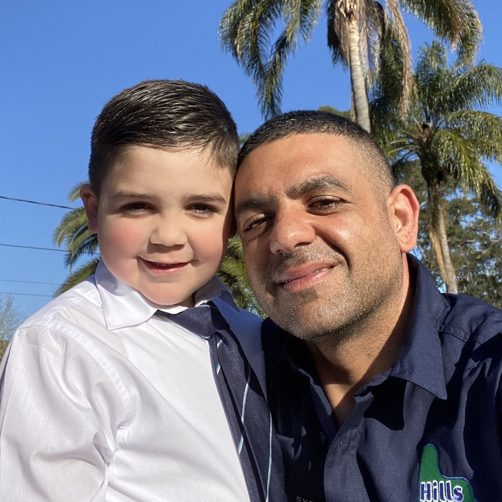 Vince, Managing Director of Hills Irrigation, with his son